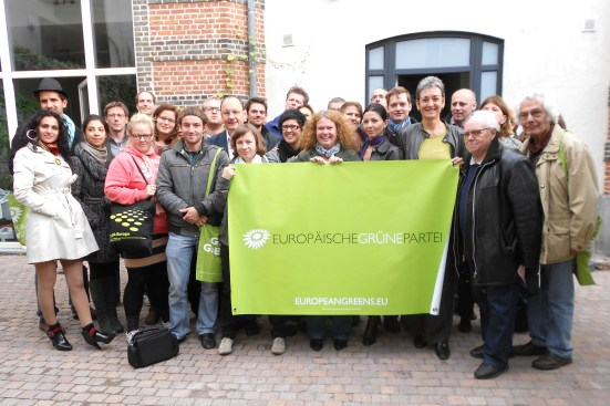 "The delegation in the headquarters of the ""European Green Party"" (EGP) in rue Wiertz."